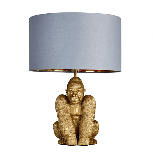 King Gorilla Table Lamp in Gold with Grey and Gold Reni Shade