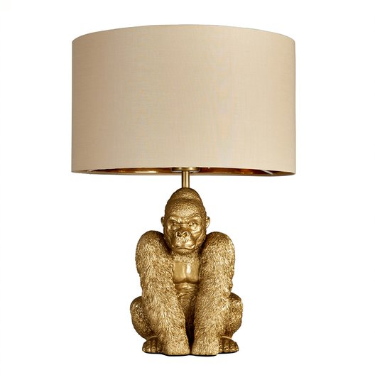 King Gorilla Table Lamp in Gold with Beige and Gold Reni Shade