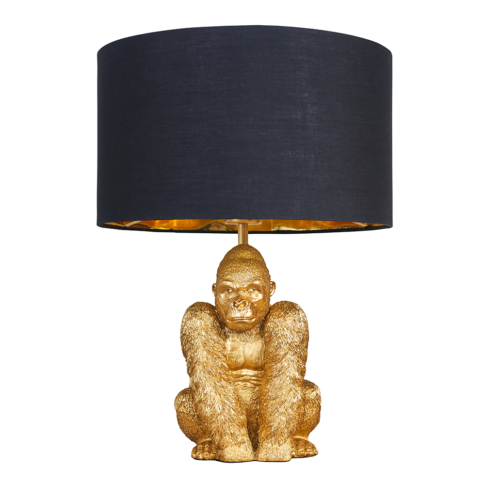 King Gorilla Table Lamp in Gold with Black and Gold Reni Shade