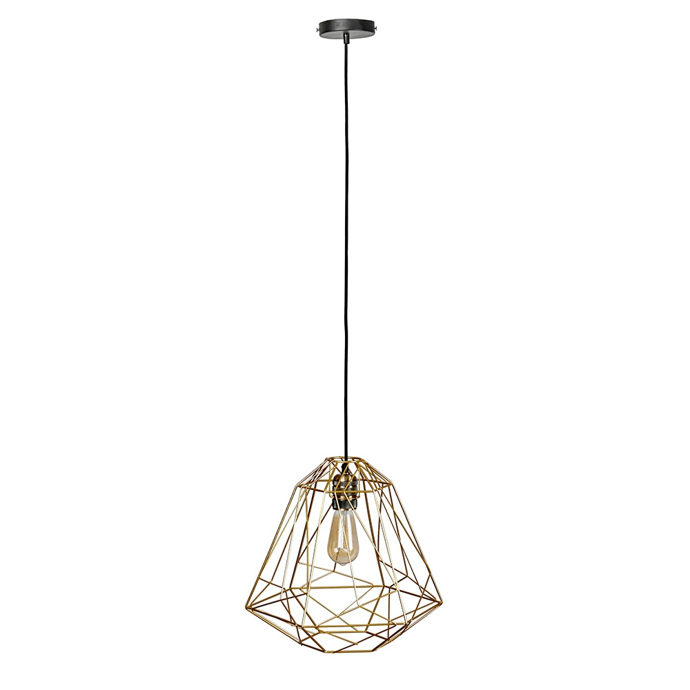 Casco Antique Brass Pendant Ceiling Light with Iconic Peru Gold Shade