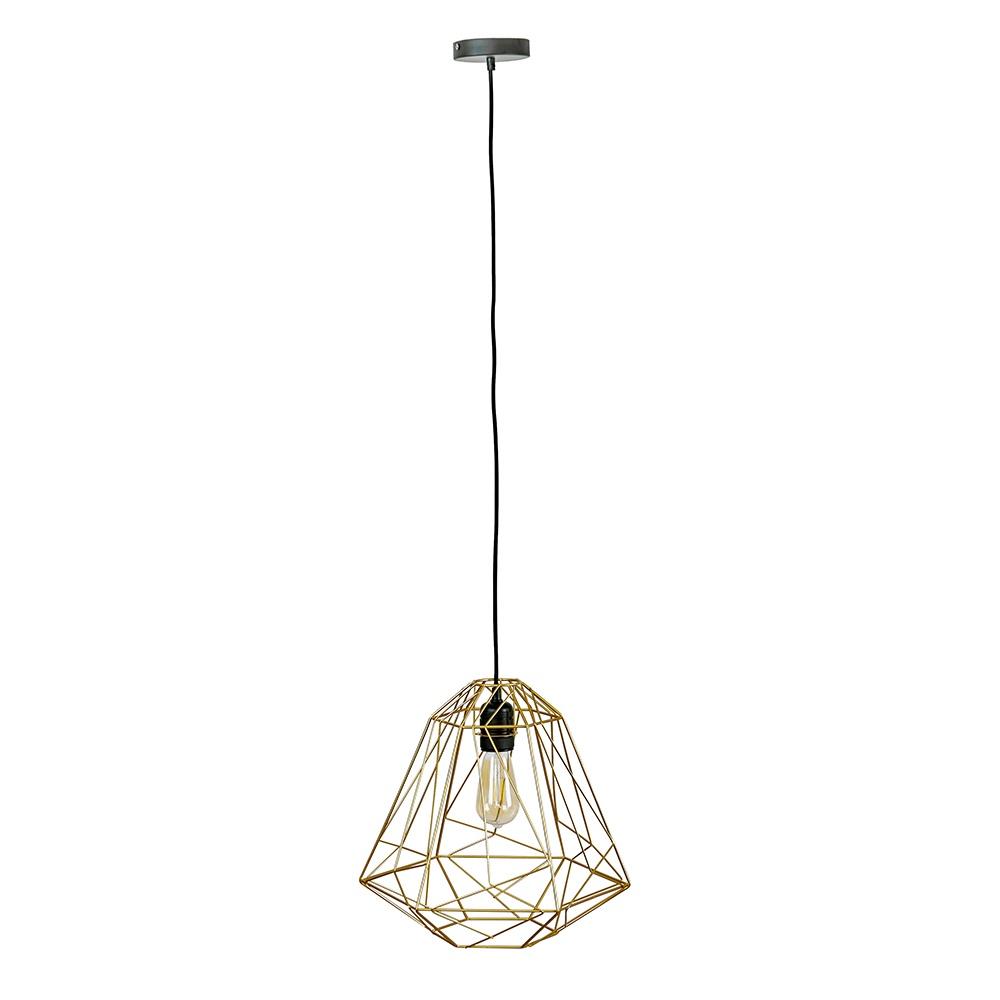 Casco Matt Black Pendant Ceiling Light with Iconic Peru Gold Shade