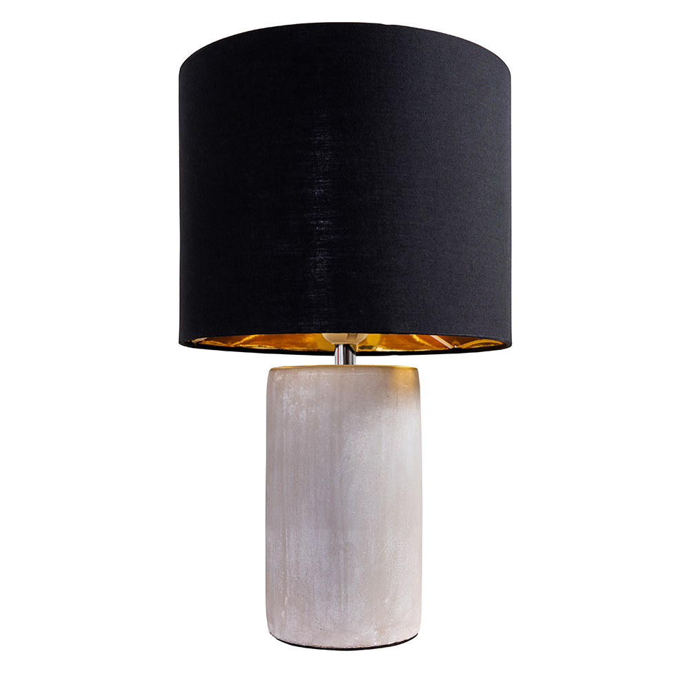 Austin Grey Cement Table Lamp with Black and Gold Reni Shade