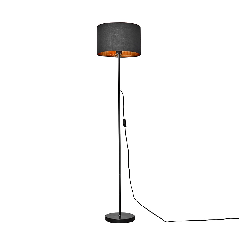Charlie Black Floor Lamp with Black and Gold Reni Shade