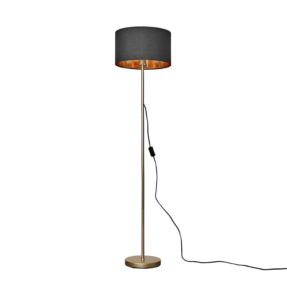 Charlie Gold Floor Lamp with Black and Gold Reni Shade