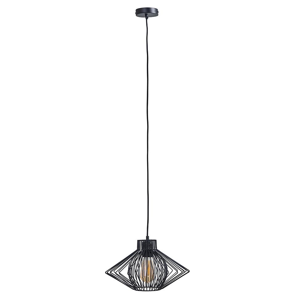 Casco Matt Black Pendant Ceiling Light with Sinat Black Pendant Shade