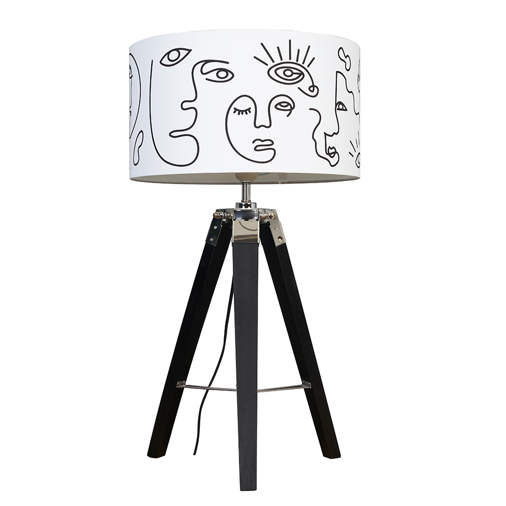 Clipper Black and Chrome Tripod Table Lamp with Face Art Reni Shade