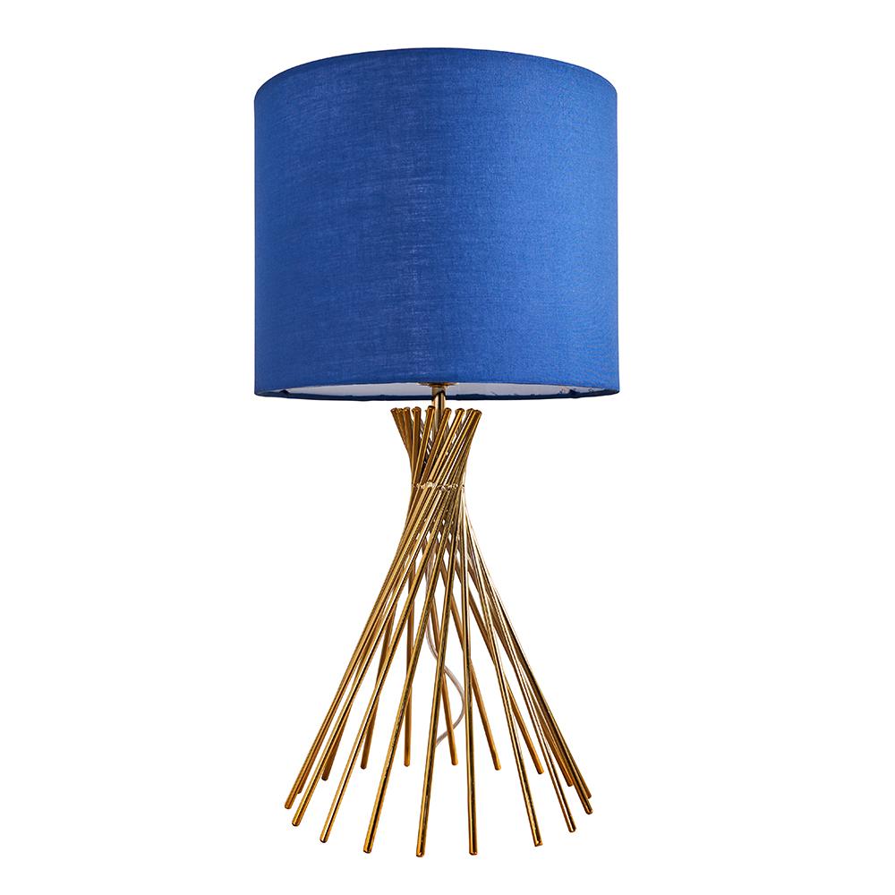 Gosforth Matt Gold Table Lamp with Navy Blue Reni Shade