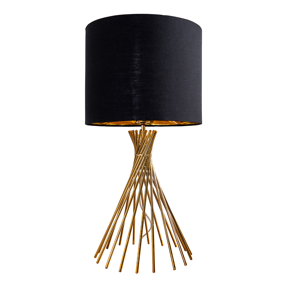 Gosforth Matt Gold Table Lamp with Black and Gold Reni Shade