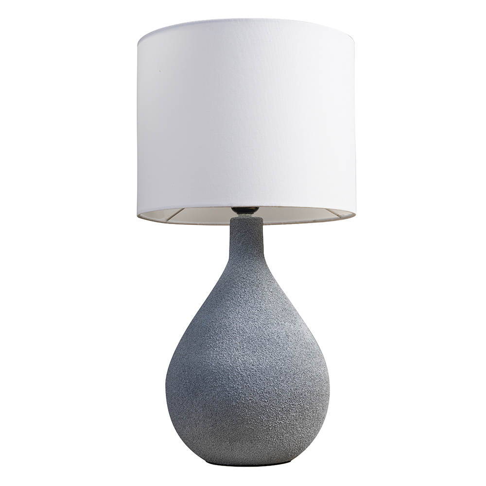 Randle Grey Cement Table Lamp with White Reni Shade