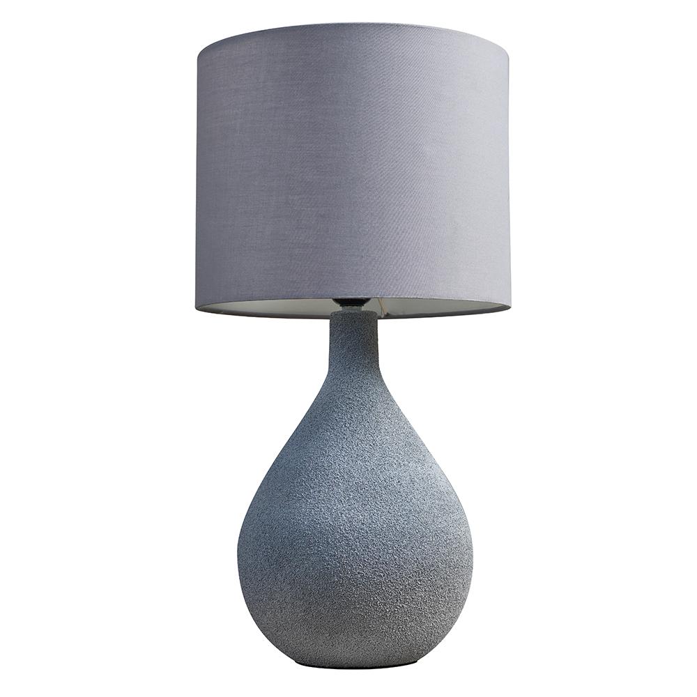 Randle Grey Cement Table Lamp with Dark Grey Reni Shade
