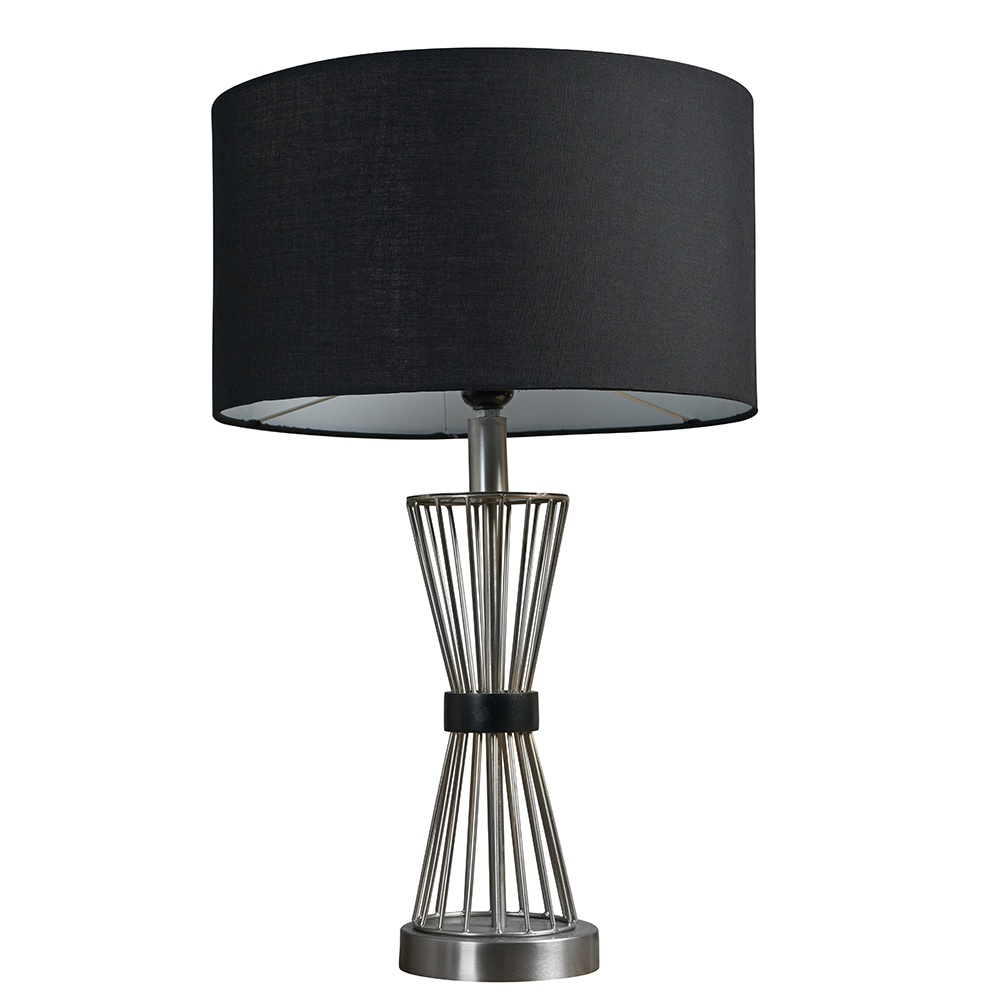 Arkin Brushed Chrome Hourglass Table Lamp with Large Black Reni Shade