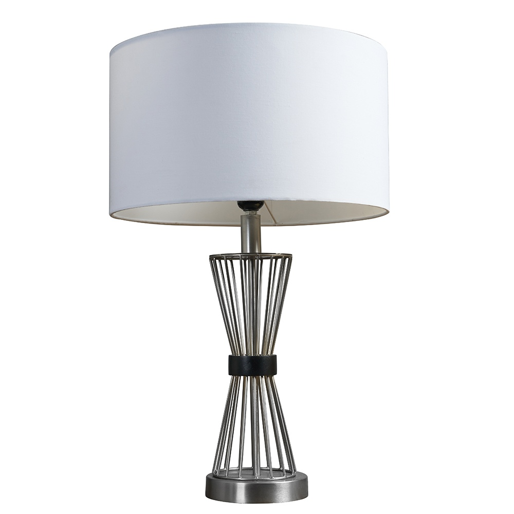 Arkin Brushed Chrome Hourglass Table Lamp with Large White Reni Shade
