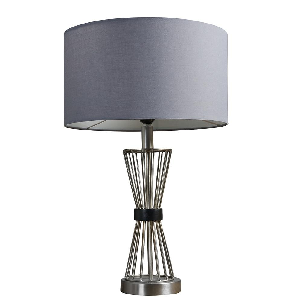 Arkin Brushed Chrome Hourglass Table Lamp with Large Dark Grey Reni Sh
