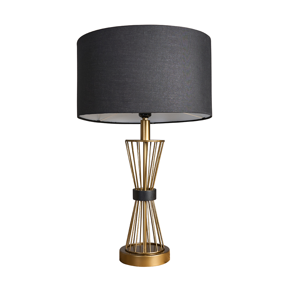 Arkin Matt Gold Hourglass Table Lamp with Large Black Reni Shade
