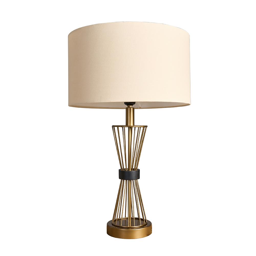 Arkin Matt Gold Hourglass Table Lamp with Large Mink Reni Shade