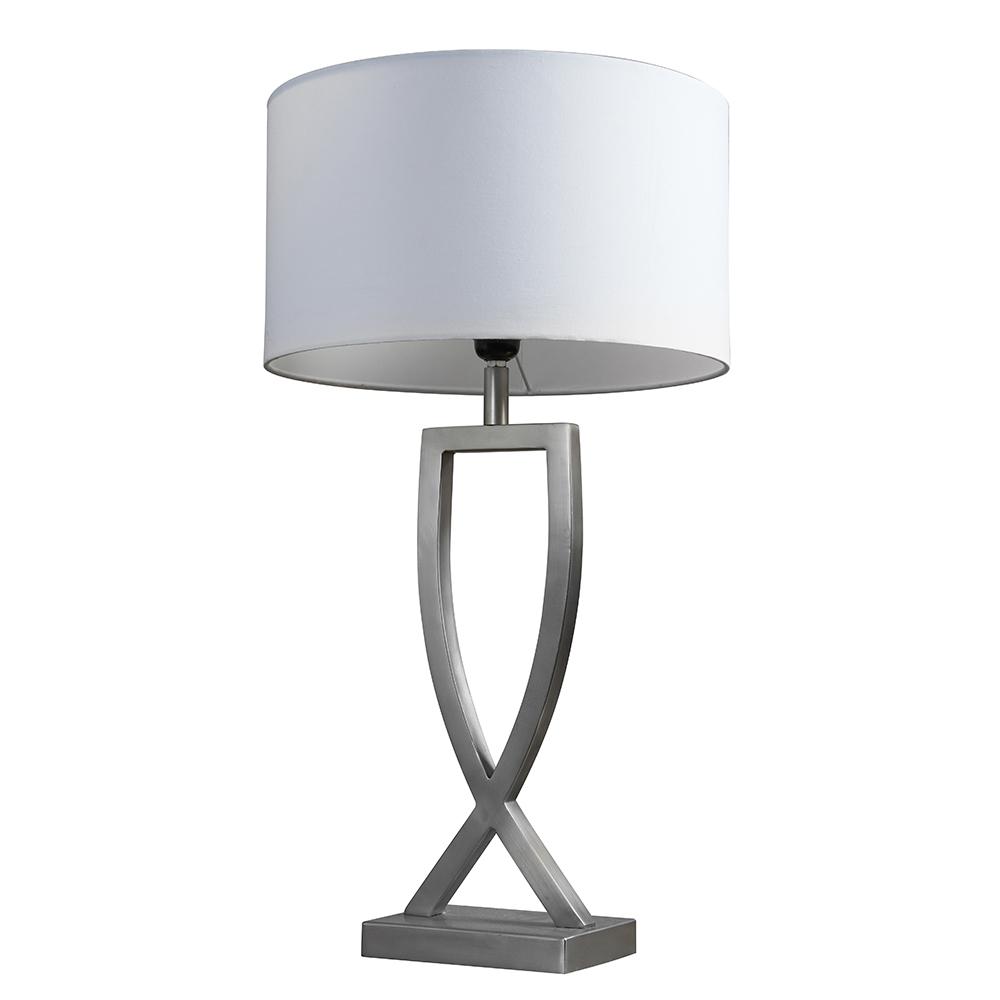 Katniss Brushed Chrome Table Lamp with Large White Reni Shade