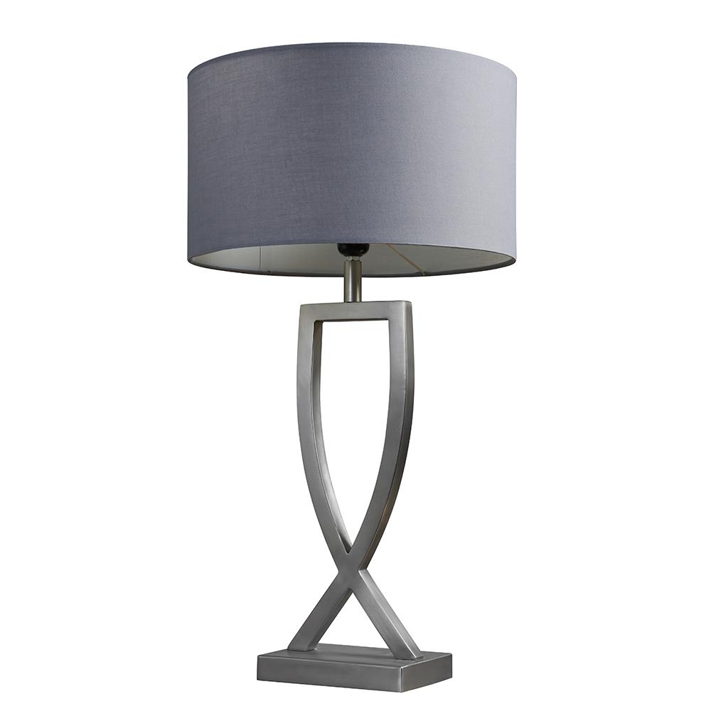 Katniss Brushed Chrome Table Lamp with Large Dark Grey Reni Shade