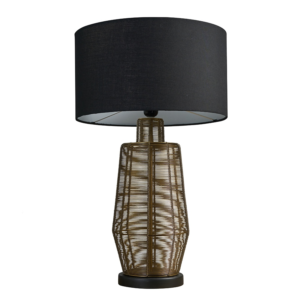 Marcon Matt Gold Wire Table Lamp with Large Black Reni Shade