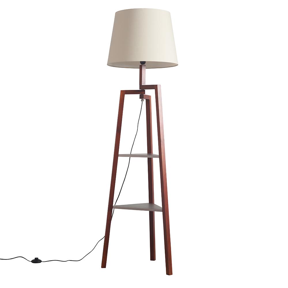 Towa Dark Wood Tripod Floor Lamp with Shelves and XL Beige Aspen Shade