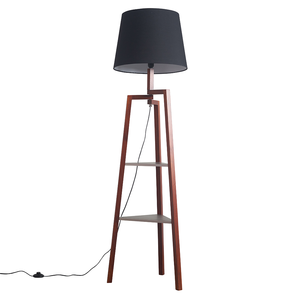 Towa Dark Wood Tripod Floor Lamp with Shelves and XL Black Aspen Shade