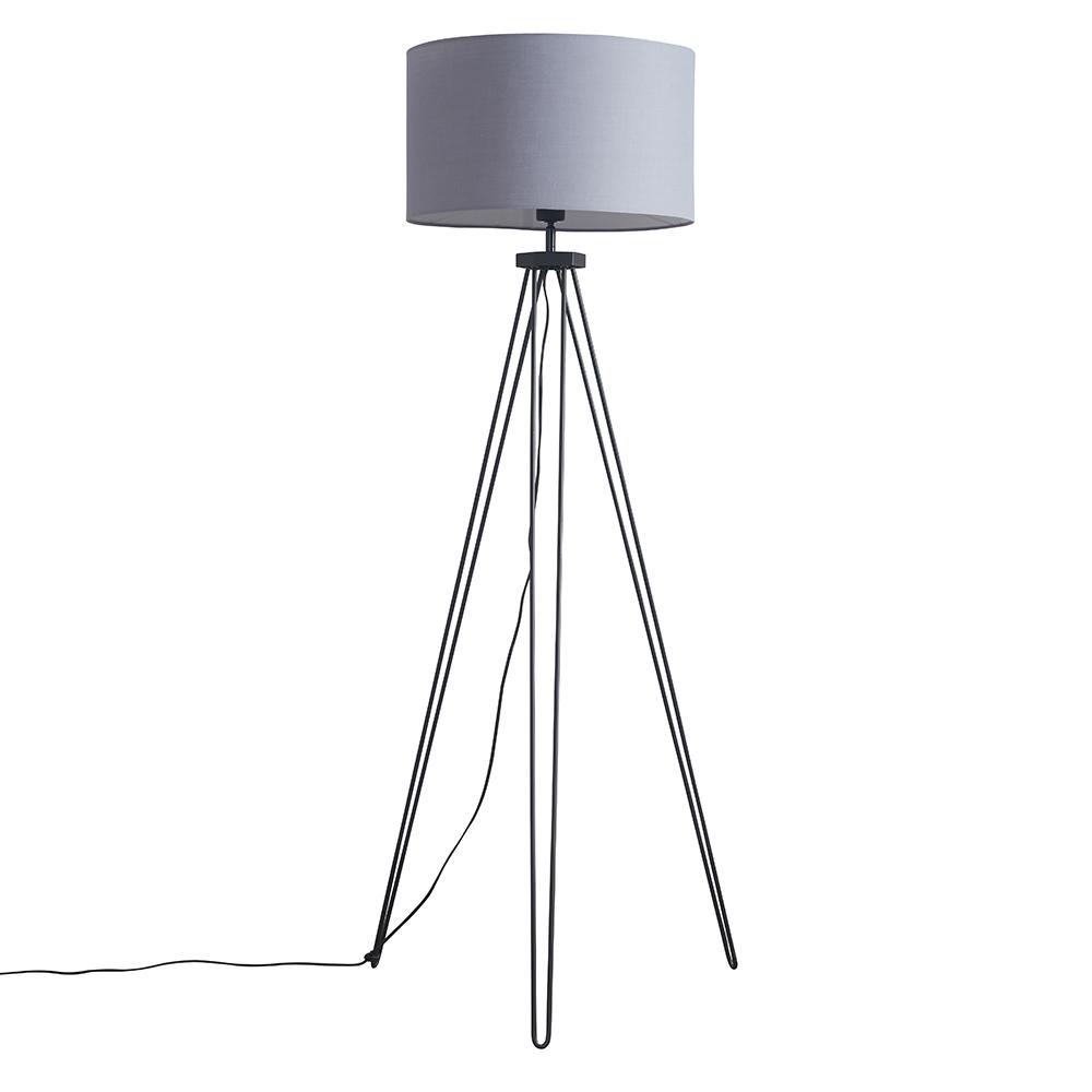 Aero Hairpin Black Tripod Floor Lamp with XL Dark Grey Reni Shade
