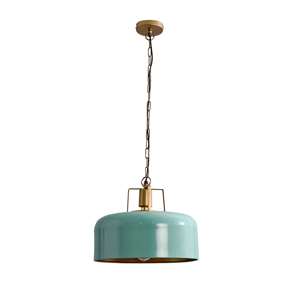 Rossio Celadon Green Pendant Ceiling Light with Gold Inner