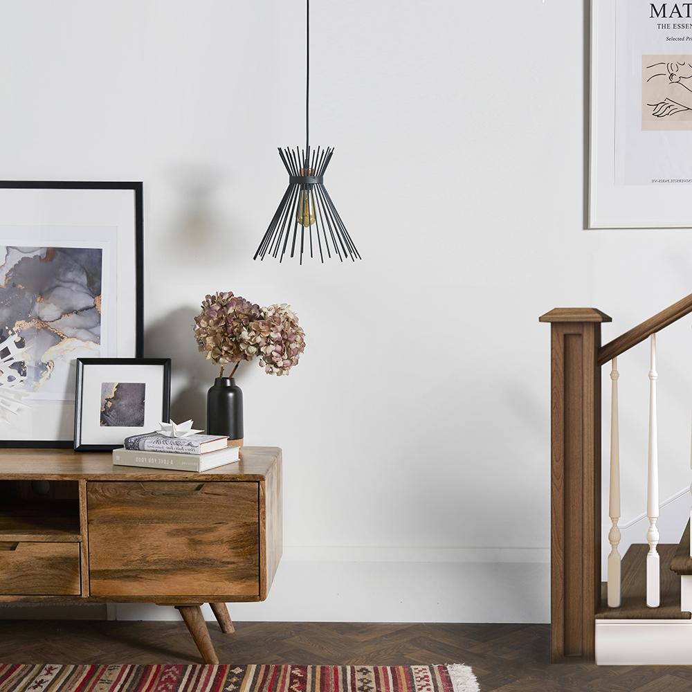 Helene Matt Black Pendant Ceiling Light with Tapered Black Wire Shade