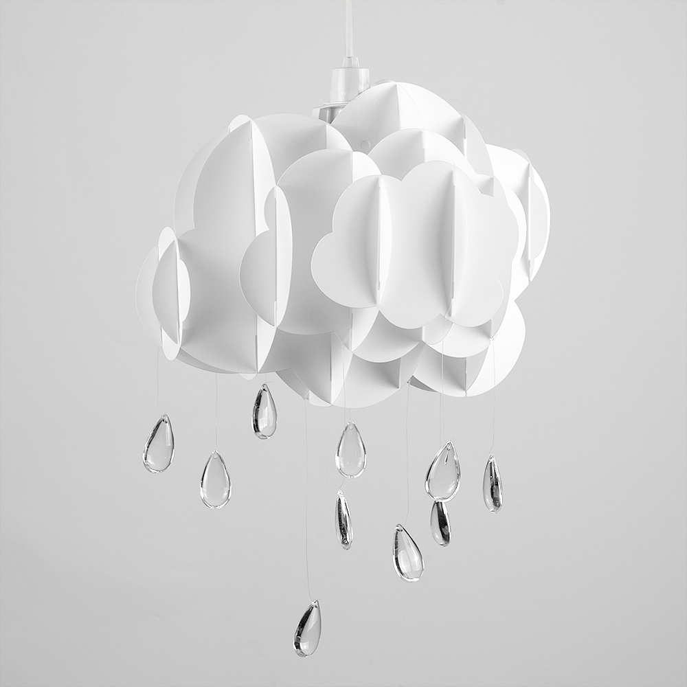 Children's Cloud and Raindrop Pendant Shade in White