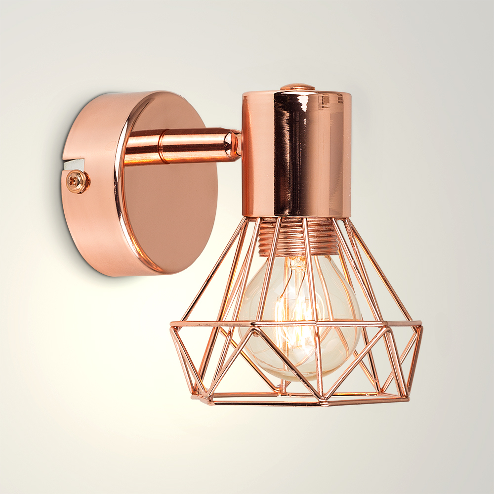 Angus Industrial Wall Light in a Copper Finish