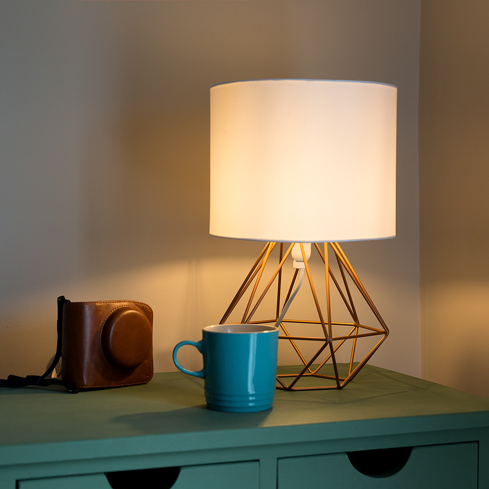 Angus Copper Geometric Base Table Lamp with White Shade