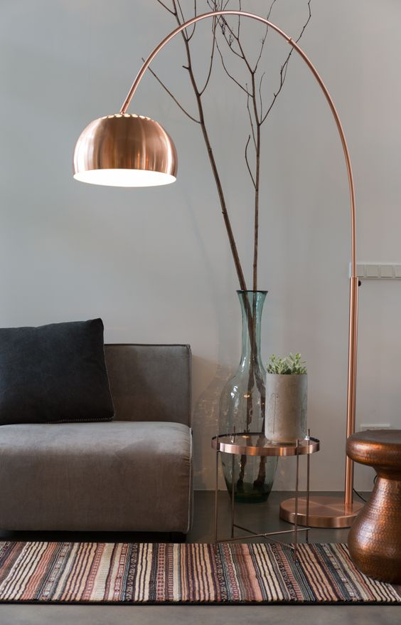 Copper Lamp and Brass Tables