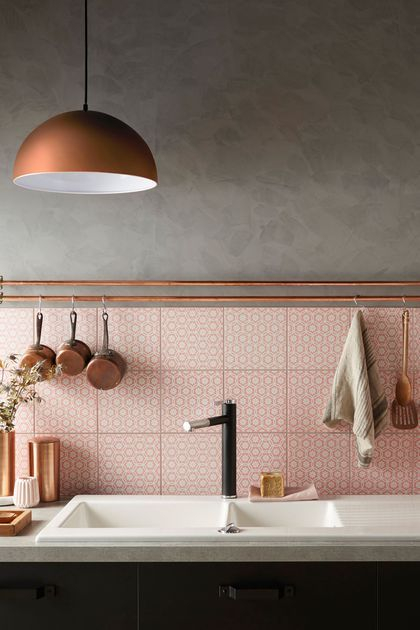 Copper Pendant and Pink Wall